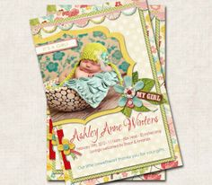 Baby Girl Birth Announcement Thank You Shower, yellow teal red pink, floral, Digital File