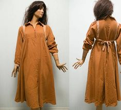 VTG tent dress/ empire waist brown light brown detals cotton maternity dress/tie belt dress/M Brown Trim, Tent Dress, Brown Dress, Belt Tying, Maternity Dresses, Cape, Empire, Cold Shoulder Dress, Satin