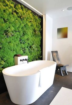Living Wall Bathroom Awesome Living Wall for Creating Your Own Vertical Garden Bathroom Living Wall Bathroom. The easy way to add a living wall in a bathroom … Vertical gardens and residentia… Bathroom Trends, Bathroom Interior, Modern Bathroom, Bathroom Ideas, Master Bathrooms, Bathroom Designs, Bathtub Ideas, Master Baths, Luxury Bathrooms