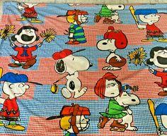 "Vintage Peanuts Gang Snoopy Sports Houndstooth Flat Bed Sheet 106"" x 80"" RARE #MontgomeryWard Vintage Bedding, Montgomery Ward, Flat Bed, Peanuts Gang, Houndstooth, Bed Sheets, Snoopy, Sports, Ebay"