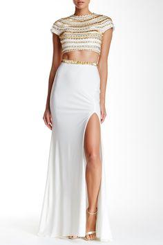 2-Piece Beaded Gown by Cassandra Stone on @HauteLook