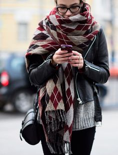 Oversized argyle scarf. I like the idea of wearing a blanket out in public and having it socially acceptable