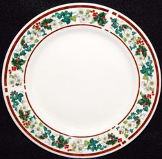 """Majesticware HOLLY, Lot of 4, Salad Plates, Stoneware, Christmas Dinnerware, Holly with White Blossoms, Red Band, Near MINT Condition 7 3/4"""" by libertyhallgirl on Etsy $16.00 for 4 salad plates"""