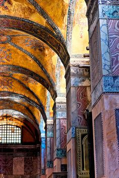 Hagia Sophia columns and mosaic work; Hagia Sophia, a former Greek Orthodox patriarchal basilica, is now a museum in Turkey Sainte Sophie Istanbul, Hagia Sophia Istanbul, The Places Youll Go, Places To See, Beautiful World, Beautiful Places, Beautiful Horses, Photo Voyage, Amazing Architecture