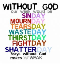 A week without God is weak every day of the week.  For more encouragement and tips for moms, please visit: http://www.everythingsahm.net/