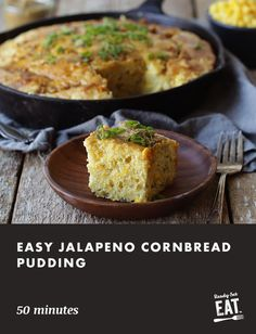 Wow your guests at your next back yard get together with this Jalapeño Corn Bread Pudding that is topped off with a sweet molasses butter. Cornbread Pudding, Jalapeno Cornbread, Jalapeno Recipes, Healthy Breakfast Recipes, Healthy Cooking, Low Carb Custard Recipe, Casserole Recipes, Crockpot Recipes, Homemade Dinner Rolls