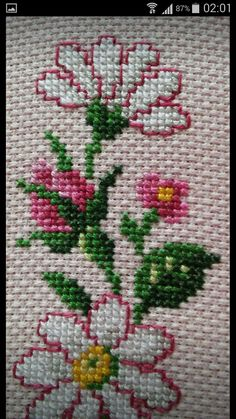 Discover thousands of images about Fidencia Cross Stitch Pillow, Cross Stitch Rose, Cross Stitch Flowers, Embroidery Flowers Pattern, Ribbon Embroidery, Crochet Motif, Crochet Flowers, Cross Stitch Designs, Cross Stitch Patterns