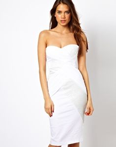 Image 1 of Elise Ryan Body-Conscious Midi Dress with Sequin and Mesh Wrap