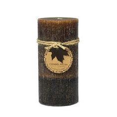 """3""""x 6"""" Wax Pillar Candle - Caramel Pecan"""