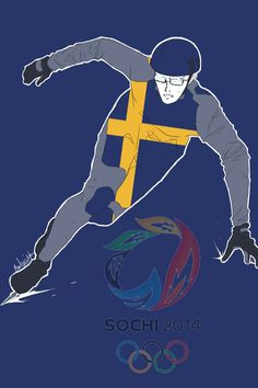 Fifth in a series showing the Hetalia Nordics as athletes in the 2014 Sochi Winter Olympics: Berwald as a speed skater - Art by inverted-typo.tumblr.com