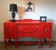 Vintage+Depression+Era+1920's+Buffet+painted+red+by+ShabbyMaggie,+$595.00