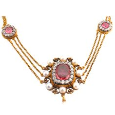 Victorian Pink Tourmaline Diamond Necklace    1850-1870