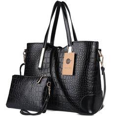 Z-joyee Women Shoulder Bag 2 Piece Tote Bag Pu Leather Handbag Purse Bags Set, Black