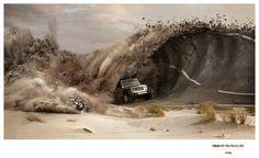 "Jeep、""世界最高峰のサーフィンの大会をスポンサードする""パワフルなプリント広告   AdGang"