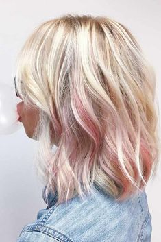 38 Pops of Purple Hair Color Ideas You Have to See - chic better Blonde Hair With Pink Highlights, Purple Blonde Hair, Light Blonde Hair, Blonde With Pink, Hair Color Purple, Blonde Color, Blonde Pink Balayage, Pastel Highlights, Longbob Hair
