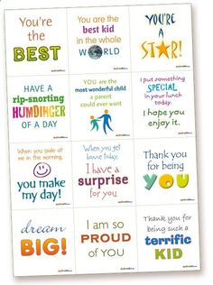 Lunchbox 1 - Kids Lunchbox - Surprise Notes  printable lunch box notes for kids, romance notes, fun notes, special occasion notes  Make someones day