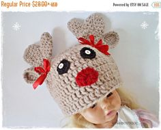 CHRISTMAS SALE Made to order Crochet deer hat Crochet  Reindeer  hat Deer hat Baby christmas hat Baby deer hat Animal hat Kids hat p (22.40 USD) by ROSSIBOUTIQUE