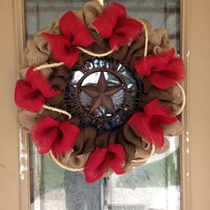 Items similar to Burlap Wreath - Welcome Wreath - Red Burlap Western Rustic Wreath - Front Door Decor on Etsy Western Wreaths, Western Decor, Country Wreaths, Western Cowboy, Summer Wreath, 4th Of July Wreath, Holiday Wreaths, Christmas Decorations, Holiday Ideas