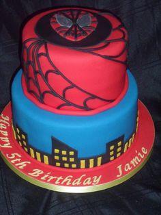 Two tier Spiderman theme cake :)