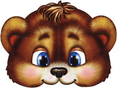 brown baby bear face mask for kids Baby Animals, Cute Animals, Teddy Bear Party, Paper Puppets, Fox Mask, Mask Template, Bear Face, Rainbow Face, Bear Cartoon