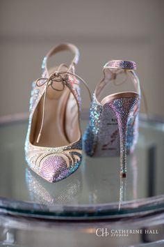 Rene Caovilla iridecent rhinestone heels, shoes with bling,Photographed at the Ritz-Carlton, Half Moon Bay. San Fransisco, Bay Area, Destination Wedding. Natural light photography.