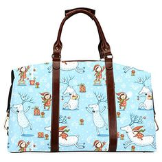 InterestPrint Blue Christmas Deer Snowflake Waterproof Fabric Travel Duffle Bag Totes Large -- You can get additional details at the image link. Duffle Bag Travel, Christmas Deer, Waterproof Fabric, Large Tote, Totes, Handbags, Tote Bag, Large Tote Bags, Bags