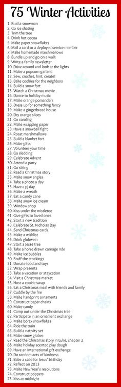 Winter Bucket List...some things wont make it to our list, but its a great place to start!