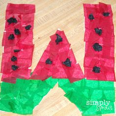 W is for Watermelon: made with tissue paper; also watermelon waffles and watermelon play dough