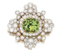Platinum, gold, peridot and pearl brooch, circa 1890
