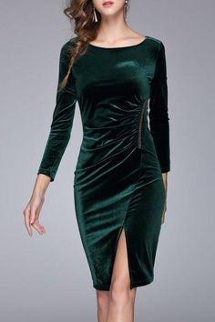 AdoreWe - Dezzal Velvet Ruched Slit Dress - AdoreWe.com