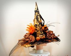 Orange and Black Witch Hat Whimsical by englishrosedesignsoh