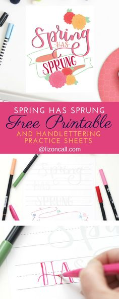 Print out this fun spring has sprung printable or the hand lettering practice sheet to recreate your own print to add some bright decor to your home.