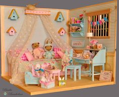 "Bimba Bambolina: OOAK Diorama ""ROMANTIC ROOM"" Scale dolls 1:6 Blythe, Pullip, Pure Neemo, Momoko, Licca, Yo-Sd, Barbie and Monster High."