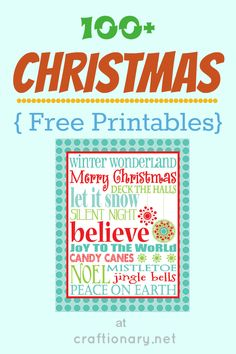 FREE PRINTABLES -- Over 100 Christmas ideas for gifts, gift tags, home decoration and Christmas tree and more