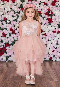 Kid's Dream C203 Ivory Flower Girl Dress Flower Girl Outfits, Girly Girl Outfits, Ivory Flower Girl Dresses, Illusion Dress, Illusions, Wedding Dresses, Lace, Flowers, Knot