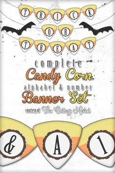 Free Printable Halloween Candy Corn Alphabet and Number Banner Set