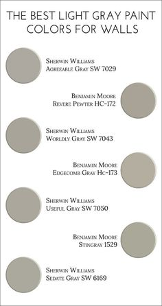 Light Gray Paint Colors For Walls. Agreeable Gray SW 7029 Sherwin Williams. Revere Pewter HC-172 Benjamin Moore. Worldly Gray SW 7043 Sherwin Williams. Edgecomb Gray HC-173 Benjamin Moore. Useful Gray SW 7050 Sherwin Williams. Stingray 1529 Benjamin Moore. Sedate Gray SW 6169 Sherwin Williams. Via Jillian Lare. by rebecca2