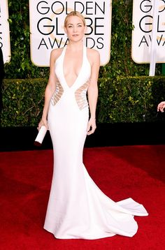 #GoldenGlobes WHO: Kate Hudson WHAT: Presenter WEAR: Atelier Versace gown accented with side cutouts and adorned with Swarovski crystal beading at the waist; Jimmy Choo clutch.   The Best Red Carpet Looks from the 72nd Annual Golden Globes via @WhoWhatWear