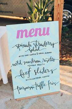 Aqua + Pink Carlsbad Wedding styled by Lace and Likes and shot by photographers Color me Rad Wedding Signage, Wedding Menu, Wedding Paper, Chic Wedding, Wedding Trends, Wedding Engagement, Wedding Styles, Wedding Reception, Dream Wedding