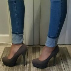 Suede grey pumps Suede, grey, heels, pumps, never worn! Great condition and very comfortable bamboo Shoes Platforms
