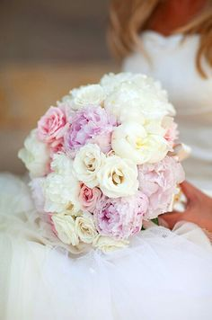 Pretty Bridal Flowers Composed Of White Peonies, Lavender Peonies, White Roses & Pink Roses>>>>