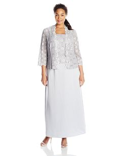 Alex Evenings Women's Plus-Size Mock 2 Piece Lace Charmeuse Jacket Dress -- Additional details at the pin image, click it  : Plus size dresses