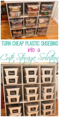 A quick and easy tutorial on how to turn clear plastic shoe bins into cute cheap storage solutions for all kinds of areas in your home. I used mine for craft room storage and craft room organization. Craft Room Storage, Craft Organization, Diy Storage, Storage Ideas, Organizing Ideas, Craft Rooms, Cheap Storage Bins, Art Supplies Storage, Organizing Solutions
