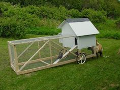 Chicken tractors allow chickens safety while allowing you to move them to new areas that need tilling. Backyard Chicken Coops, Chicken Coop Plans, Building A Chicken Coop, Diy Chicken Coop, Chickens Backyard, Chicken Ideas, Chicken Tractors, Goat Farming, Chicken Runs