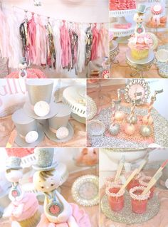 {New Years Eve Baby Shower} Mine won't be New Years, but I love the sparkly pink things!