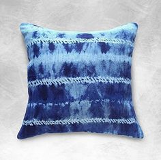 "Deep Indigo color on soft Dobby fabric. This is ""Shibori Avani"" Ikat BOHO Pillow from BRUNNA.co ~ Available on www.brunna.co"