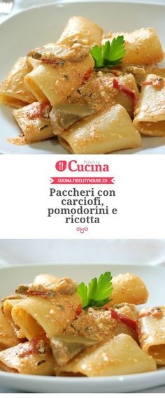 Paccheri con carciofi, pomodorini e ricotta – Rezepte Veggie Recipes, Wine Recipes, Pasta Recipes, Cooking Recipes, Healthy Recipes, Popular Italian Food, Ricotta, Snacks Für Party, Le Diner