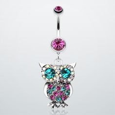 Jeweled Sparkling Owl Dangle Belly Ring ($12.95) makes me want to go get my belly button pierced again, just for this!