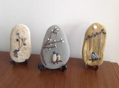 These are darling!   Pebble picture on rocks.