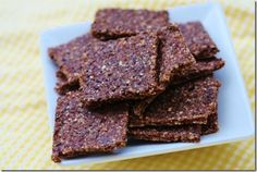 Raw Cocoa Crackers (Makes about crackers) 1 cup cashews cup flax meal tsp salt cup cacao nibs cup date paste Scant cup water (or as needed) 2 tbsp chia seeds Raw Dessert Recipes, Raw Desserts, Raw Vegan Recipes, Vegan Foods, Whole Food Recipes, Snack Recipes, Waffle Recipes, Keto Foods, Ww Recipes